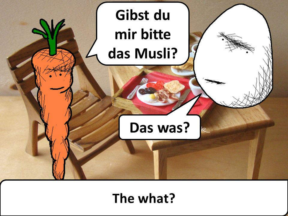The Umlaut ü With Mr. Angry Potato Head and Mrs Mildly-Angry Carrot-Face