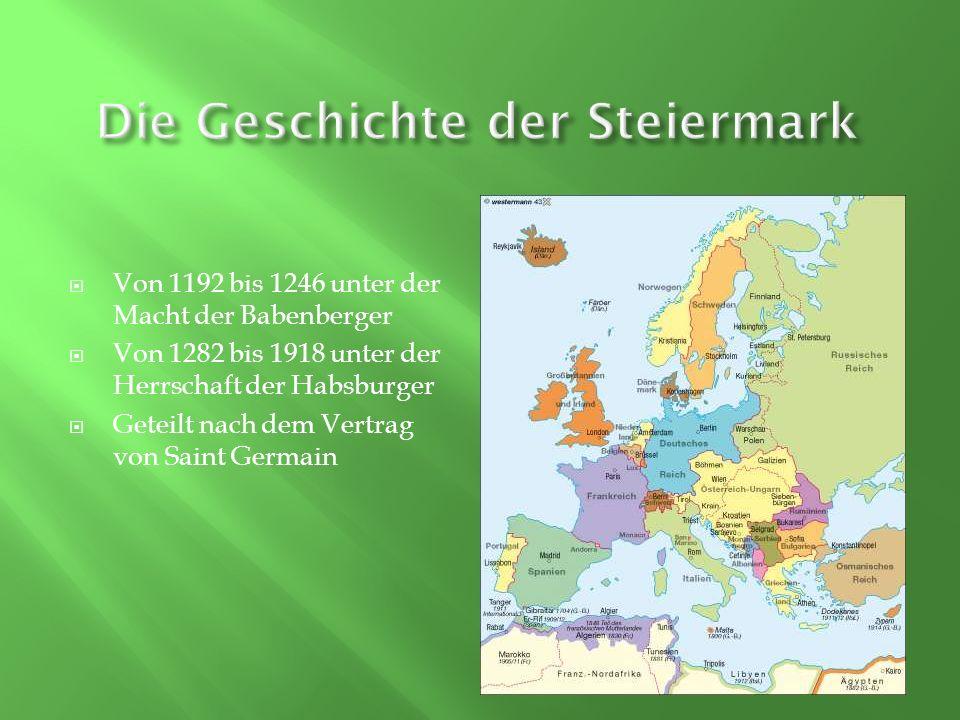 Flächenmä β ig das zweitgrösste Bundesland der Republik Österreich Sie grenzt an die anderen Bundesländer Kärnten, Salzburg, Oberösterreich, Niederösterreich und Burgenland 1.183.303 Einwohner und 4.250 slowenische Steirer