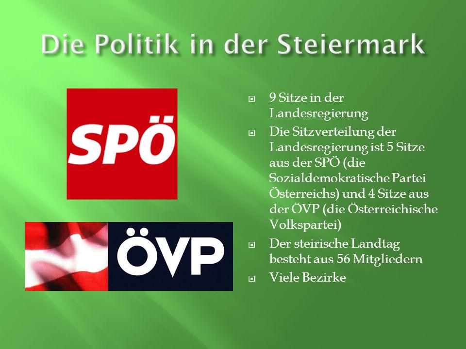 9 Sitze in der Landesregierung Die Sitzverteilung der Landesregierung ist 5 Sitze aus der SPÖ (die Sozialdemokratische Partei Österreichs) und 4 Sitze aus der ÖVP (die Österreichische Volkspartei) Der steirische Landtag besteht aus 56 Mitgliedern Viele Bezirke