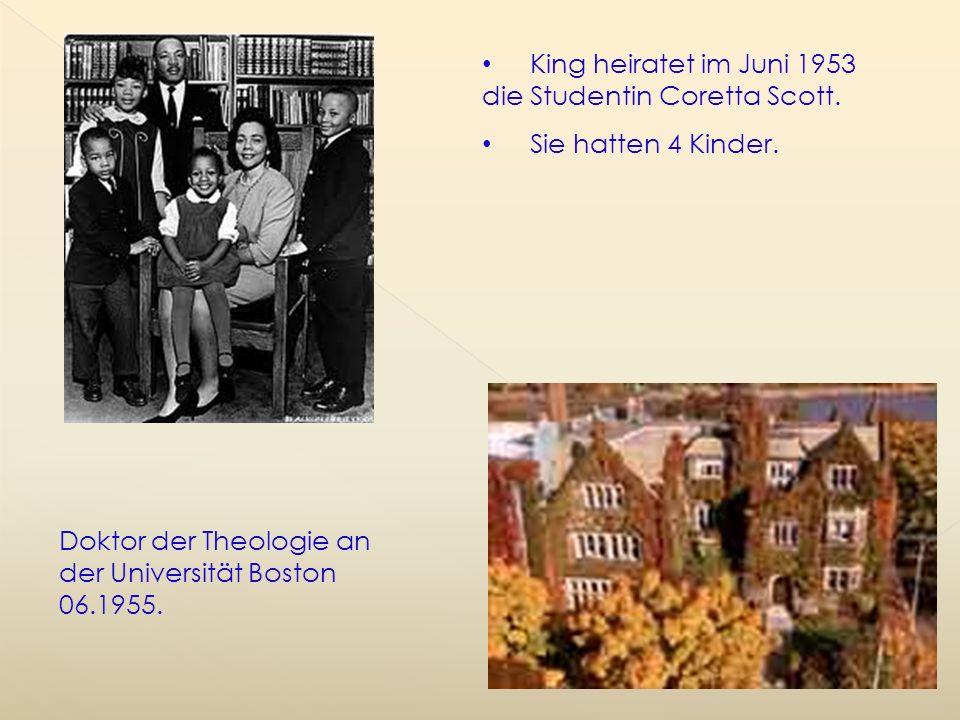 King heiratet im Juni 1953 die Studentin Coretta Scott.