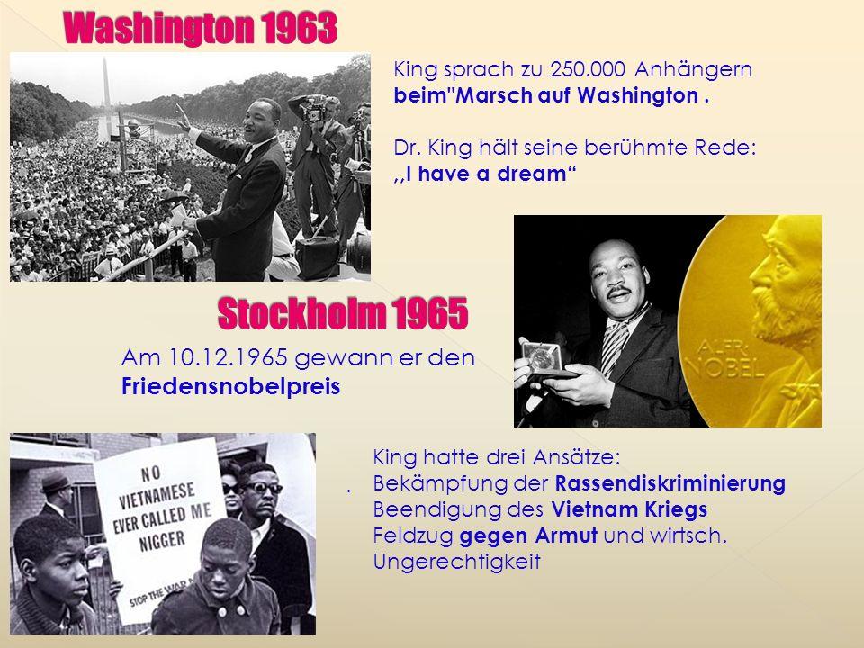 Martin Luther King etablierte sich als Führer der nationalen Bürgerrechts- bewegung King, inspiriert von Gandhis nicht militanter Haltung, förderte ge