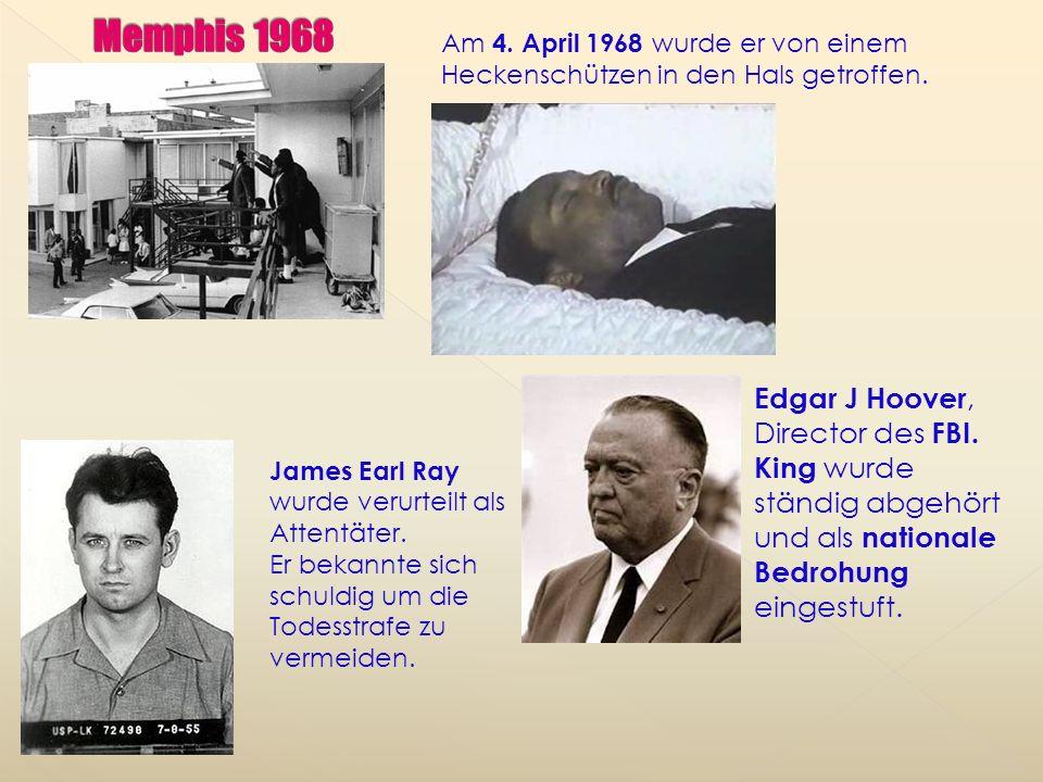 Am 10.12.1965 gewann er den Friedensnobelpreis. King sprach zu 250.000 Anhängern beim