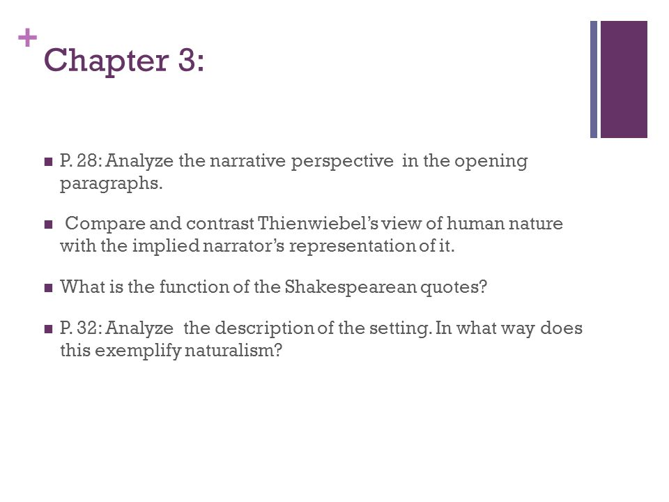 + Chapter 3: P. 28: Analyze the narrative perspective in the opening paragraphs.