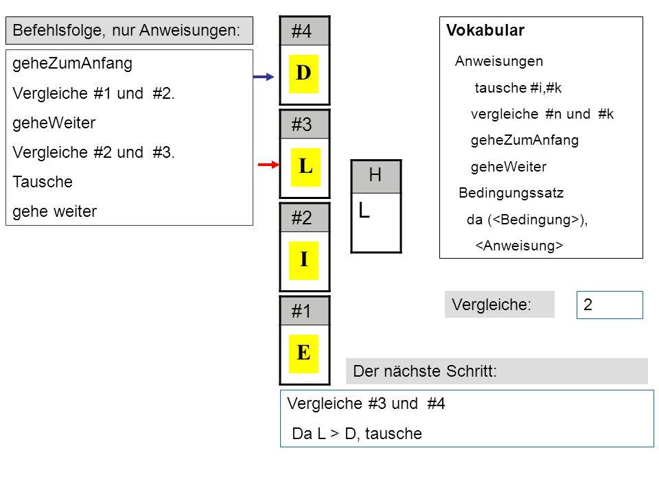 Vergleiche #3 und #4 Da L > D, tausche Befehlsfolge, nur Anweisungen: Der nächste Schritt: geheZumAnfang Vergleiche #1 und #2.