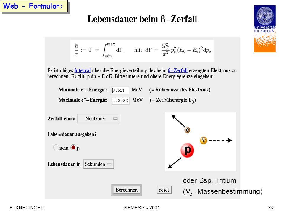 E. KNERINGERNEMESIS - 200133 Web - Formular: oder Bsp. Tritium ( e -Massenbestimmung)