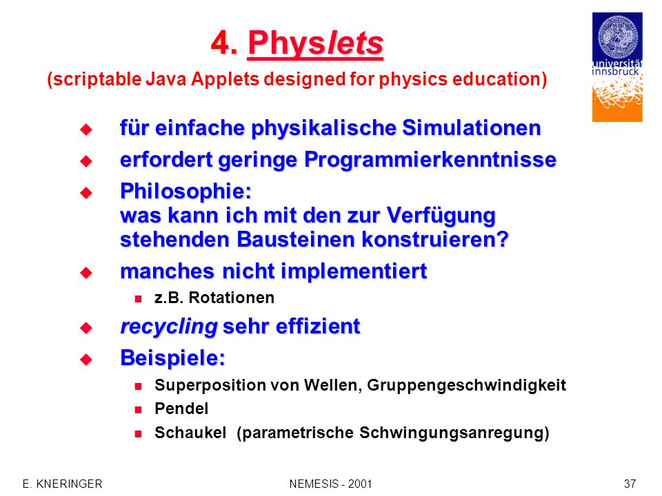 E. KNERINGERNEMESIS - 200137 4. Physlets 4. Physlets (scriptable Java Applets designed for physics education)PhysletsPhyslets für einfache physikalisc
