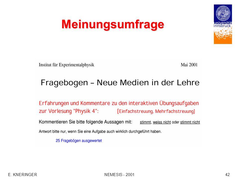 E. KNERINGERNEMESIS - 200142 Meinungsumfrage