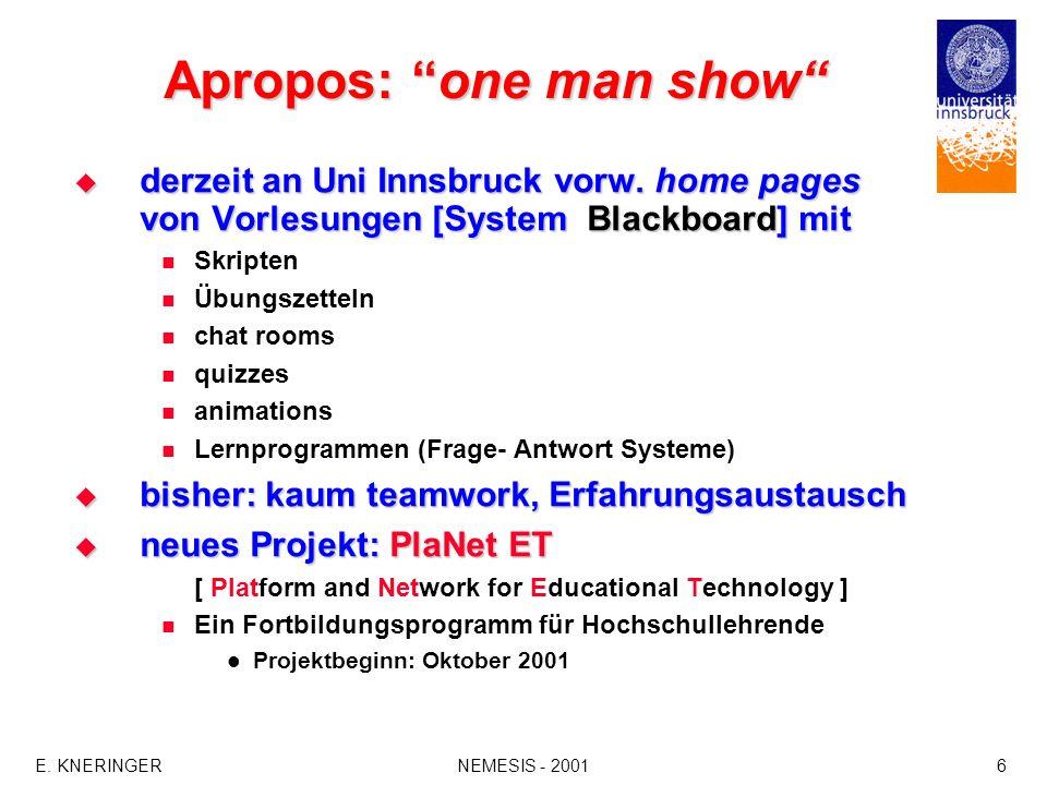 E.KNERINGERNEMESIS - 20016 Apropos: one man show derzeit an Uni Innsbruck vorw.