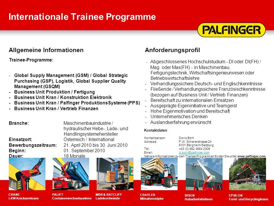 Internationale Trainee Programme CRANE LKW Knickarmkrane PALIFT Containerwechselsysteme MBB & RATCLIFF Ladebordwände CRAYLER Mitnahmestpler BISON Huba