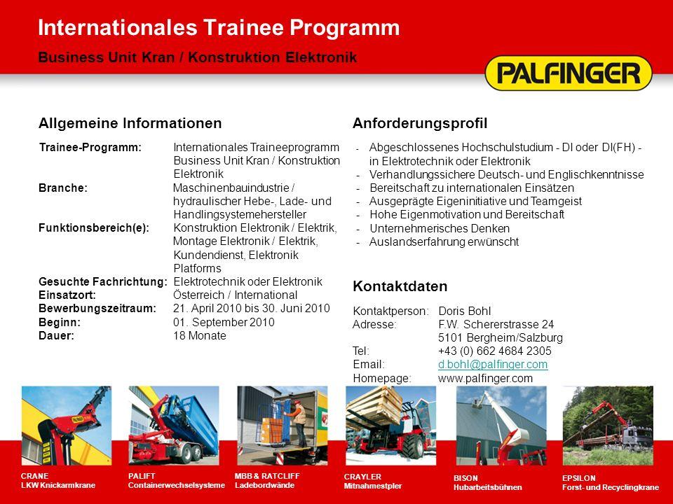 Internationales Trainee Programm Business Unit Kran / Konstruktion Elektronik CRANE LKW Knickarmkrane PALIFT Containerwechselsysteme MBB & RATCLIFF La