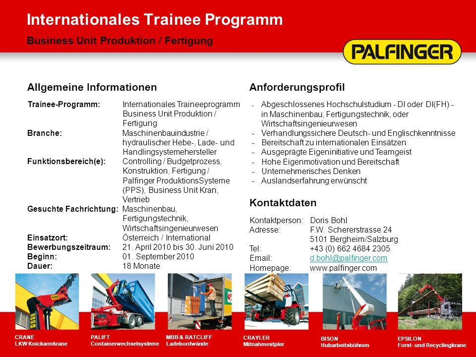 Internationales Trainee Programm Business Unit Produktion / Fertigung CRANE LKW Knickarmkrane PALIFT Containerwechselsysteme MBB & RATCLIFF Ladebordwä