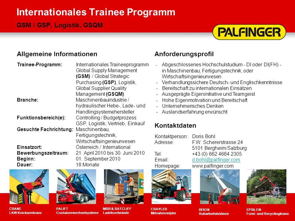 Internationales Trainee Programm GSM / GSP, Logistik, GSQM CRANE LKW Knickarmkrane PALIFT Containerwechselsysteme MBB & RATCLIFF Ladebordwände CRAYLER