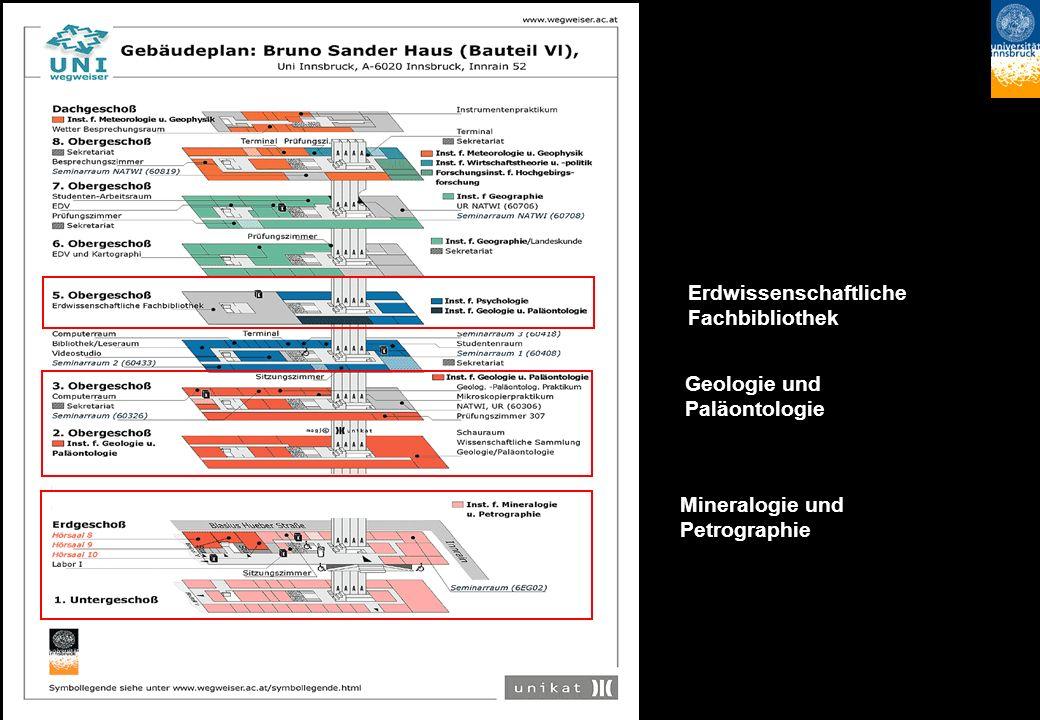 Erdwissenschaftliche Fachbibliothek Geologie und Paläontologie Mineralogie und Petrographie