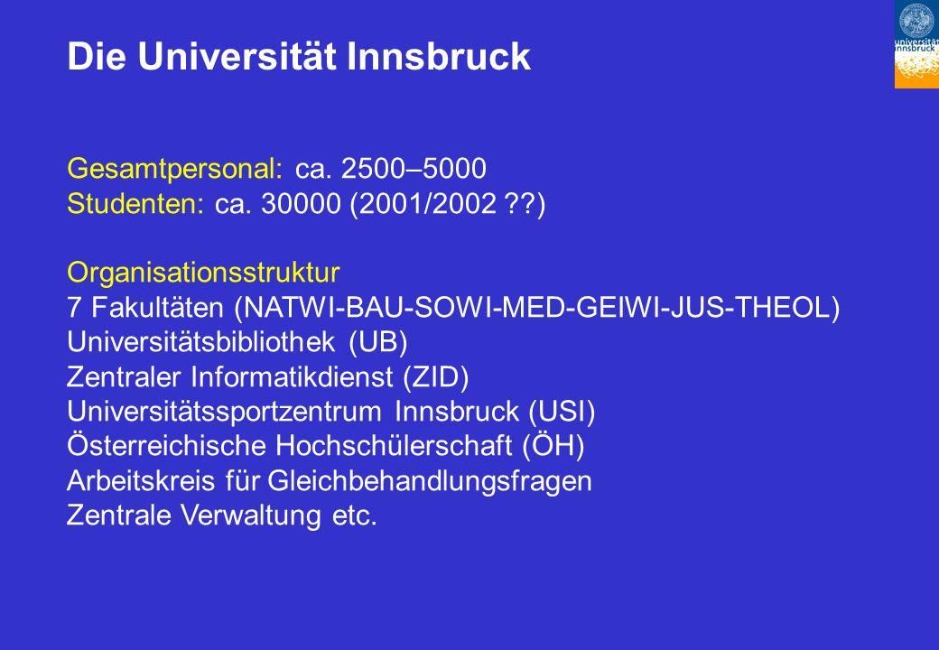 Die Universität Innsbruck Gesamtpersonal: ca. 2500–5000 Studenten: ca.