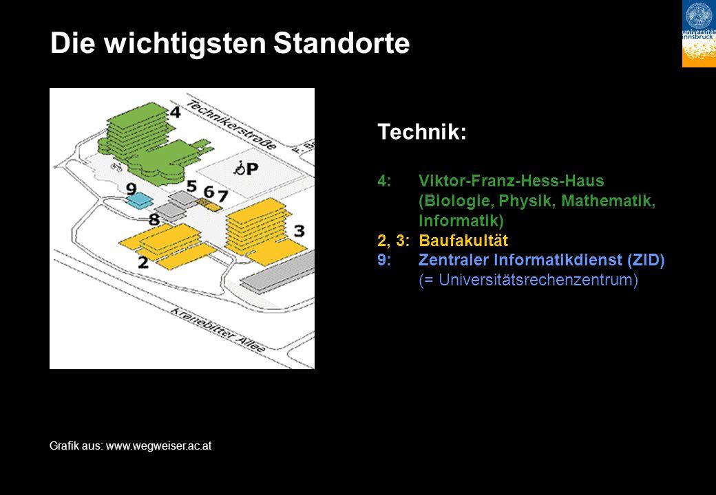 Die wichtigsten Standorte Technik: 4:Viktor-Franz-Hess-Haus (Biologie, Physik, Mathematik, Informatik) 2, 3:Baufakultät 9:Zentraler Informatikdienst (ZID) (= Universitätsrechenzentrum) Grafik aus: www.wegweiser.ac.at