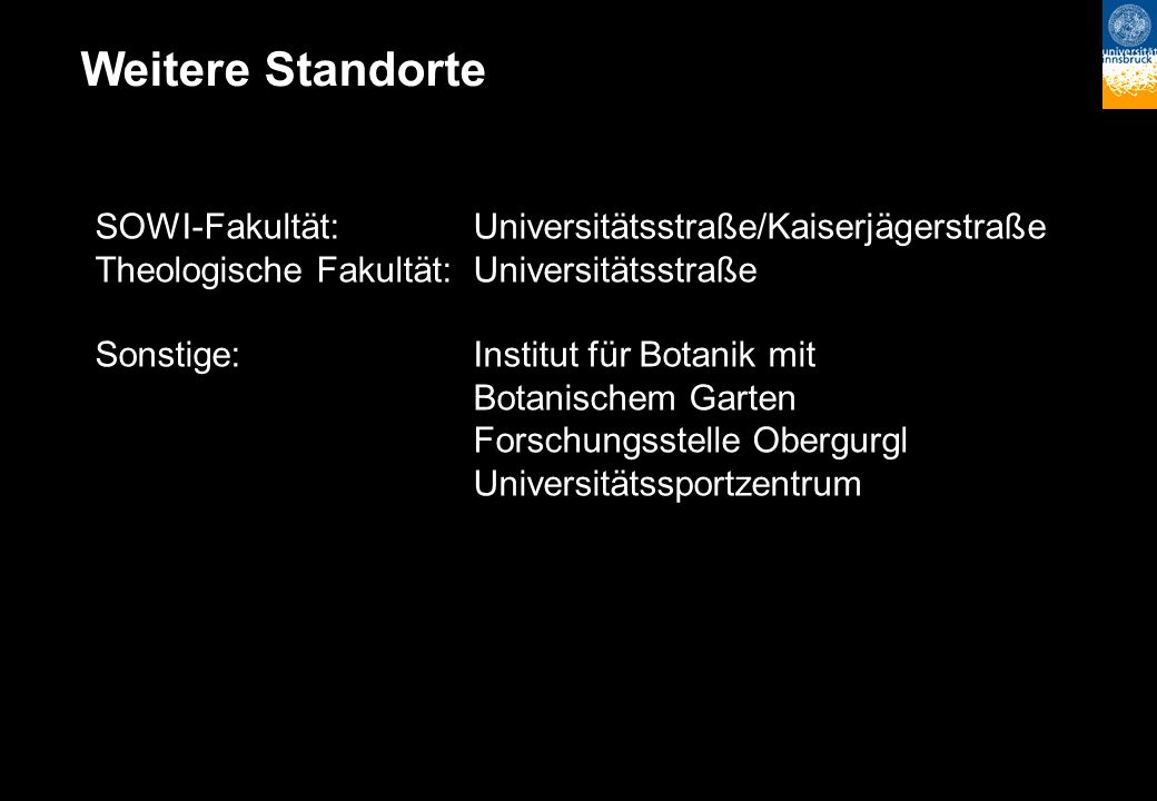 Weitere Standorte SOWI-Fakultät:Universitätsstraße/Kaiserjägerstraße Theologische Fakultät:Universitätsstraße Sonstige:Institut für Botanik mit Botani