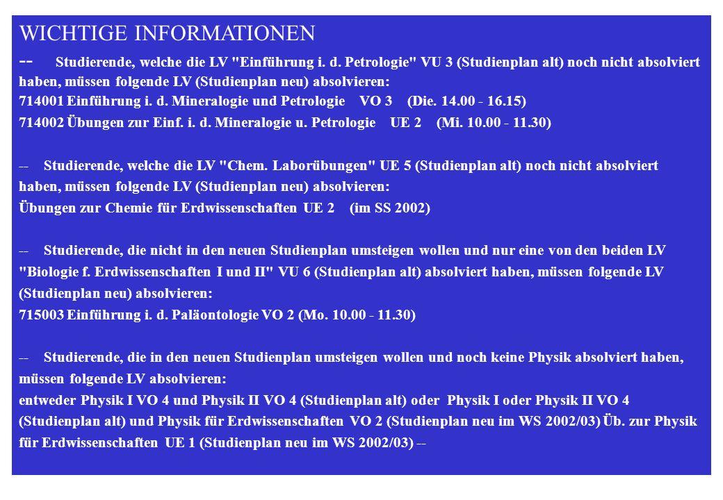 STUDIENRICHTUNG ERDWISSENSCHAFTEN WS 2000/2001