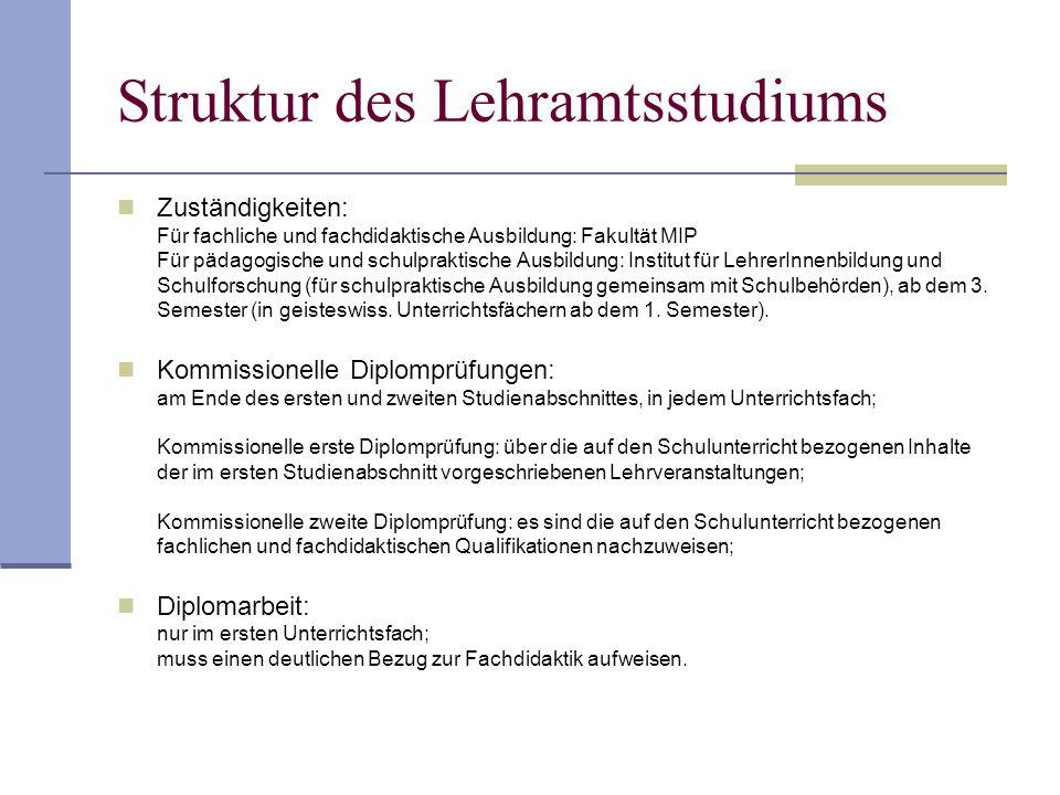 Struktur des Lehramtsstudiums Zuständigkeiten: Für fachliche und fachdidaktische Ausbildung: Fakultät MIP Für pädagogische und schulpraktische Ausbild