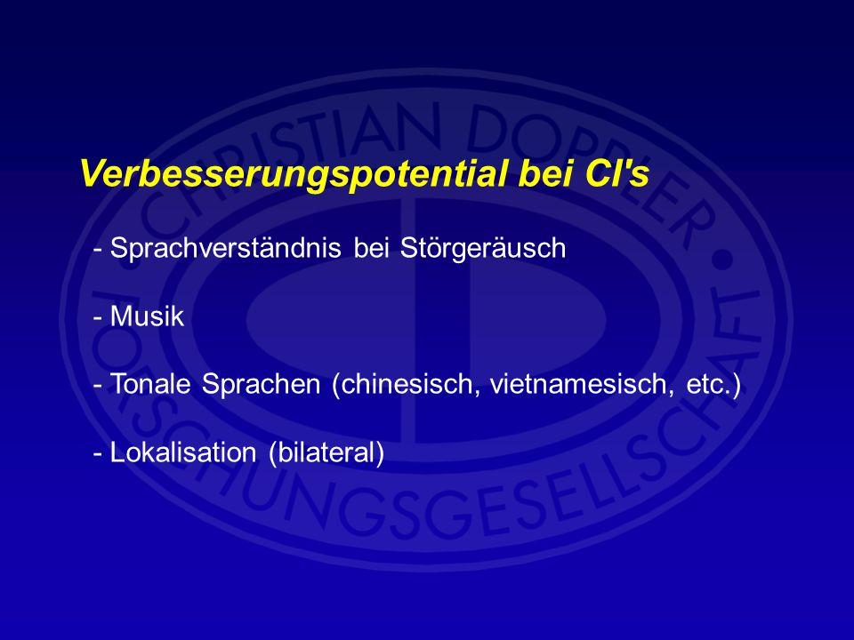 Verbesserungspotential bei CI's - Sprachverständnis bei Störgeräusch - Musik - Tonale Sprachen (chinesisch, vietnamesisch, etc.) - Lokalisation (bilat