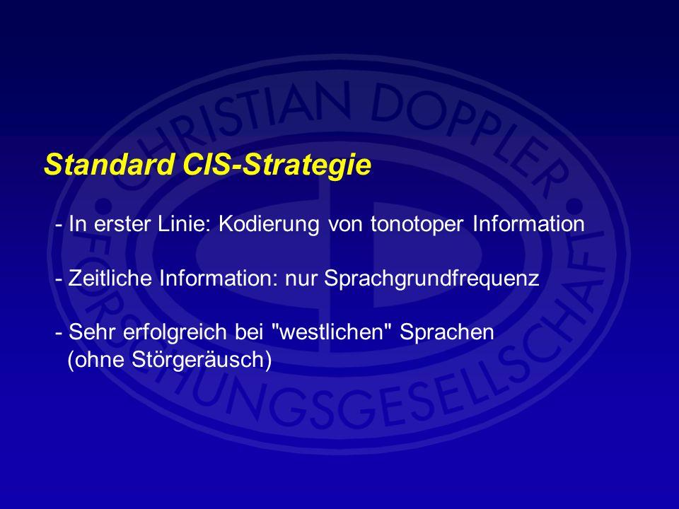 Standard CIS-Strategie - In erster Linie: Kodierung von tonotoper Information - Zeitliche Information: nur Sprachgrundfrequenz - Sehr erfolgreich bei