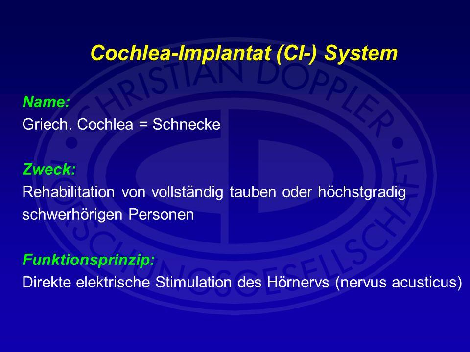 Cochlea-Implantat (CI-) System Name: Griech. Cochlea = Schnecke Zweck: Rehabilitation von vollständig tauben oder höchstgradig schwerhörigen Personen