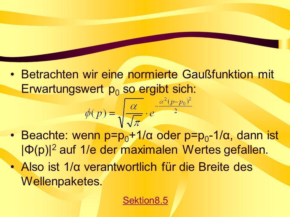 Betrachten wir eine normierte Gaußfunktion mit Erwartungswert p 0 so ergibt sich: Beachte: wenn p=p 0 +1/α oder p=p 0 -1/α, dann ist |Φ(p)| 2 auf 1/e