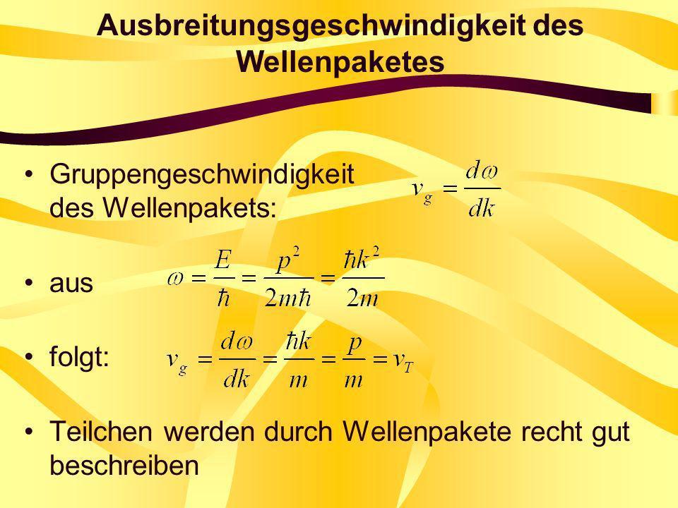 Ausbreitungsgeschwindigkeit des Wellenpaketes Gruppengeschwindigkeit des Wellenpakets: aus folgt: Teilchen werden durch Wellenpakete recht gut beschre