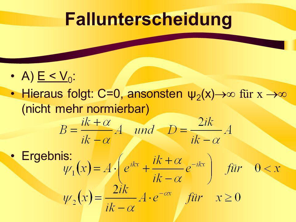 Fallunterscheidung A) E < V 0 : Hieraus folgt: C=0, ansonsten ψ 2 (x) für x (nicht mehr normierbar) Ergebnis: