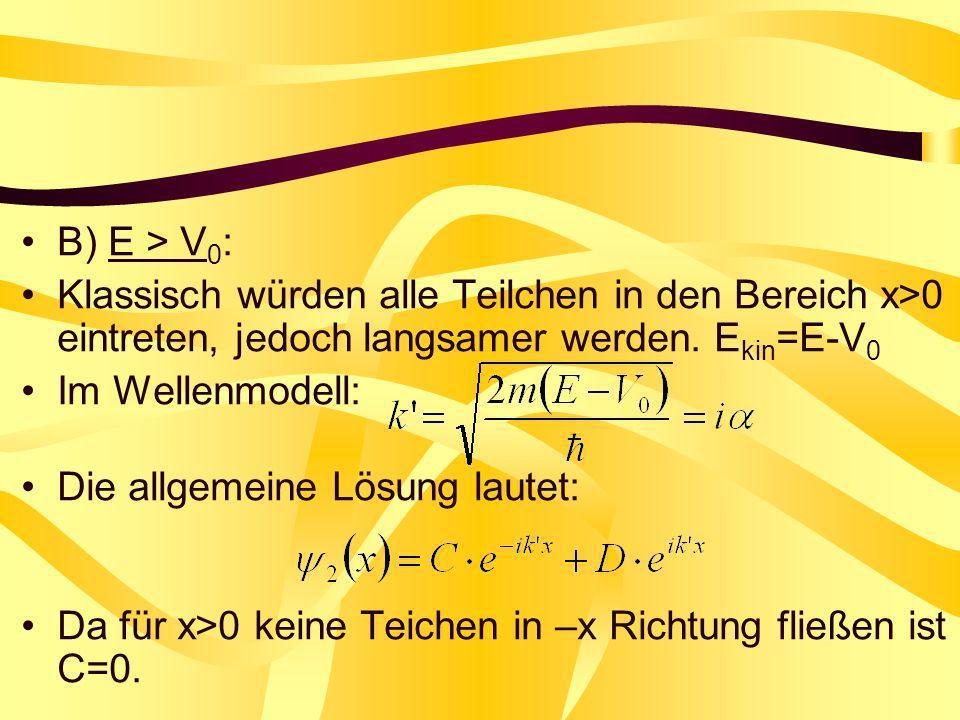 B) E > V 0 : Klassisch würden alle Teilchen in den Bereich x>0 eintreten, jedoch langsamer werden. E kin =E-V 0 Im Wellenmodell: Die allgemeine Lösung