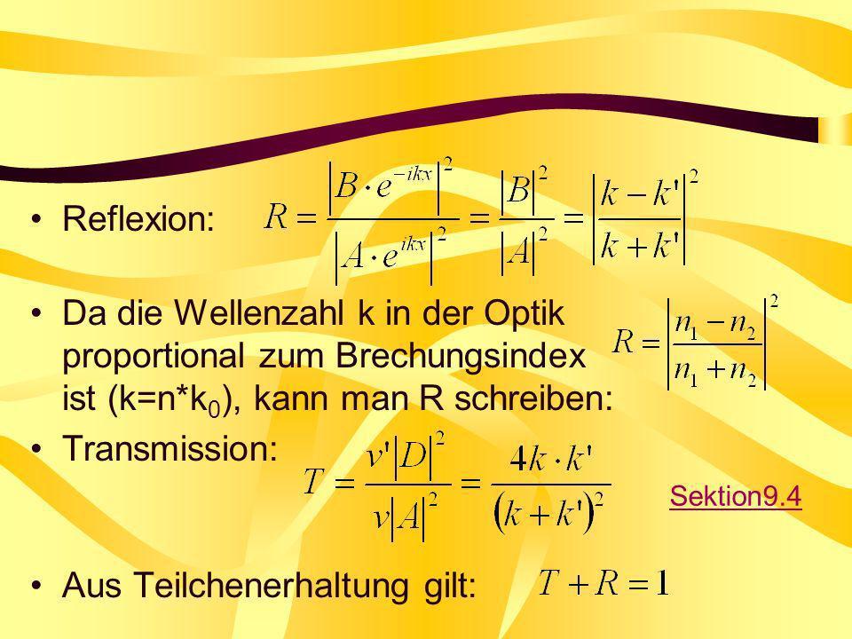 Reflexion: Da die Wellenzahl k in der Optik proportional zum Brechungsindex ist (k=n*k 0 ), kann man R schreiben: Transmission: Aus Teilchenerhaltung