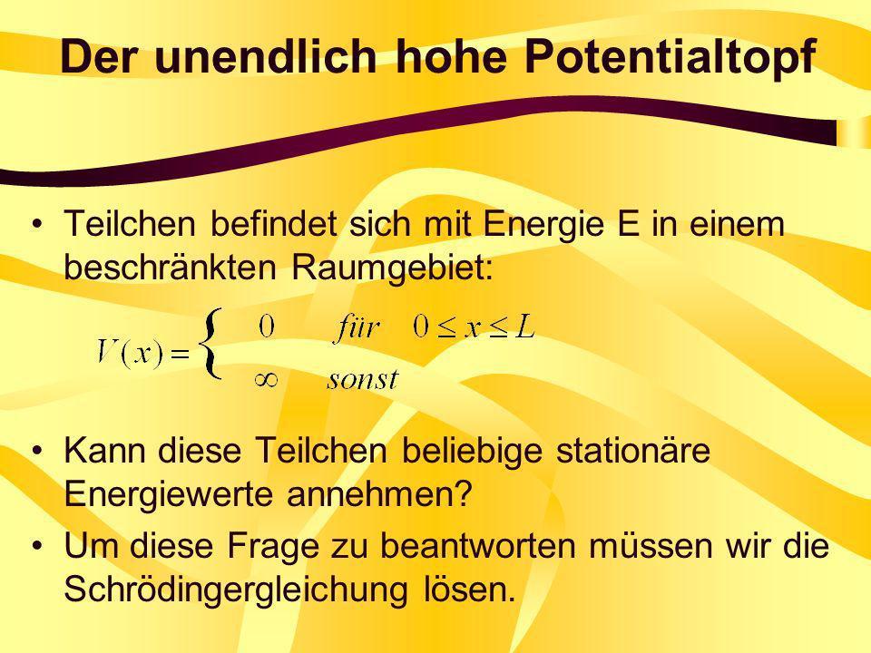 Der unendlich hohe Potentialtopf Teilchen befindet sich mit Energie E in einem beschränkten Raumgebiet: Kann diese Teilchen beliebige stationäre Energ
