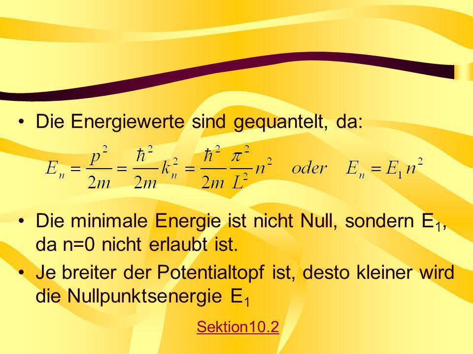Die Energiewerte sind gequantelt, da: Die minimale Energie ist nicht Null, sondern E 1, da n=0 nicht erlaubt ist. Je breiter der Potentialtopf ist, de