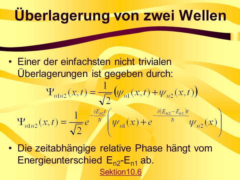 Überlagerung von zwei Wellen Einer der einfachsten nicht trivialen Überlagerungen ist gegeben durch: Die zeitabhängige relative Phase hängt vom Energi