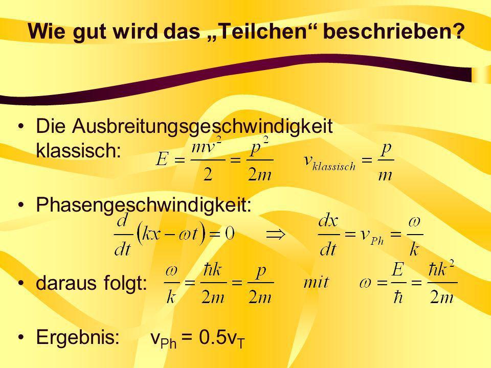 Wie gut wird das Teilchen beschrieben? Die Ausbreitungsgeschwindigkeit klassisch: Phasengeschwindigkeit: daraus folgt: Ergebnis: v Ph = 0.5v T