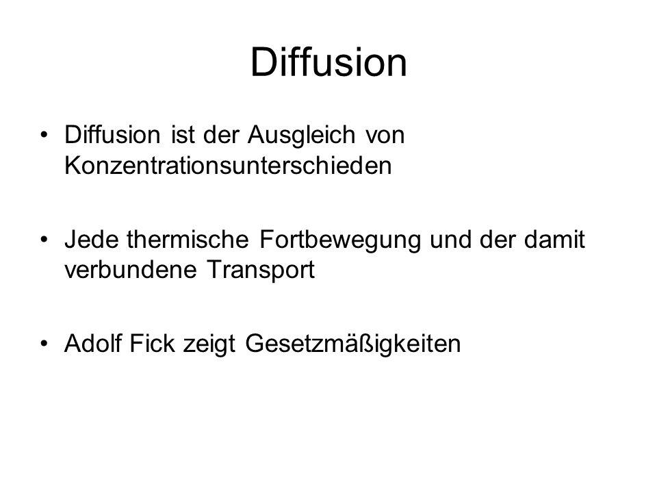 Diffusion Diffusion ist der Ausgleich von Konzentrationsunterschieden Jede thermische Fortbewegung und der damit verbundene Transport Adolf Fick zeigt