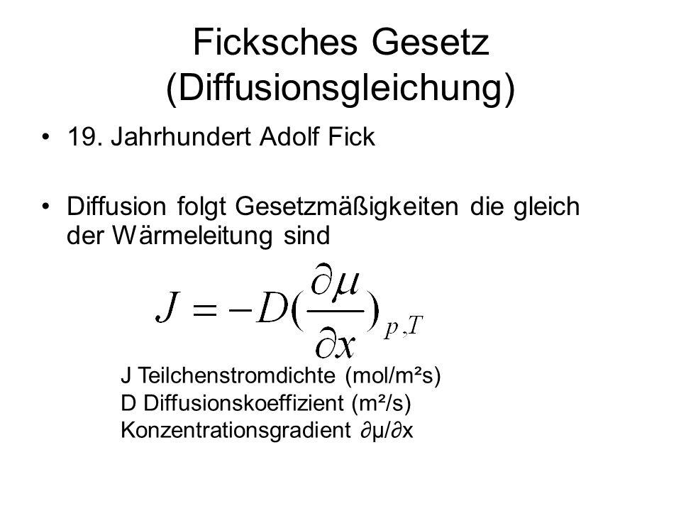 Ficksches Gesetz (Diffusionsgleichung) 19. Jahrhundert Adolf Fick Diffusion folgt Gesetzmäßigkeiten die gleich der Wärmeleitung sind J Teilchenstromdi