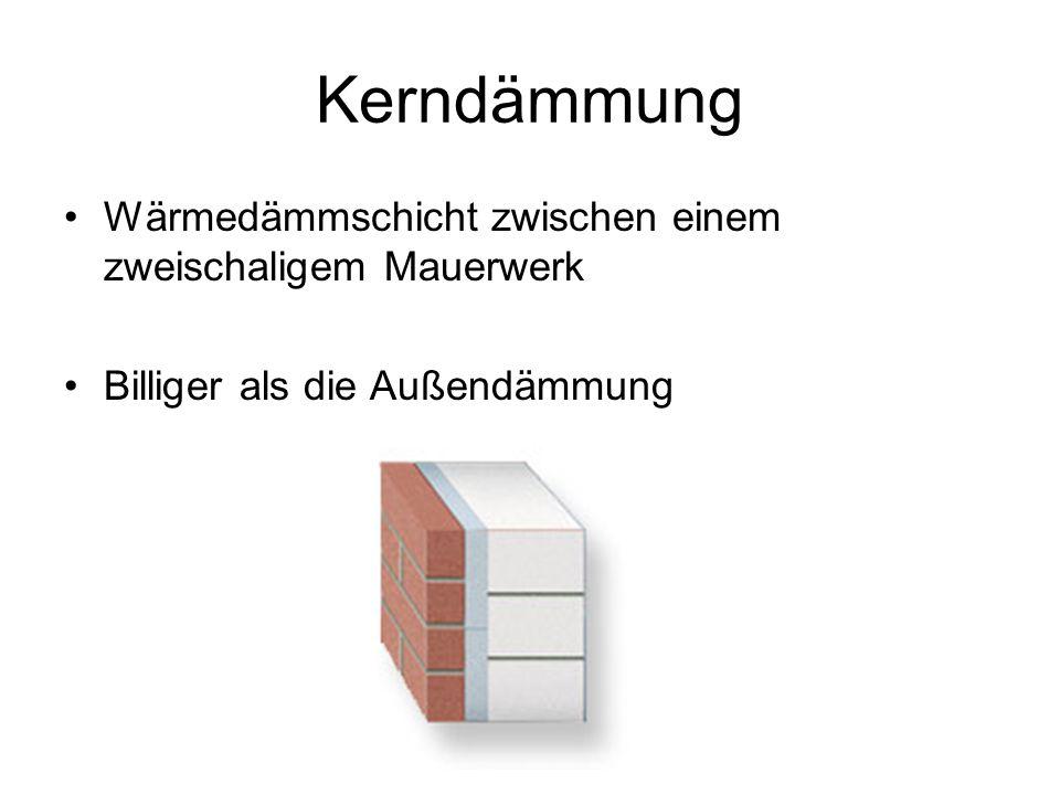 Kerndämmung Wärmedämmschicht zwischen einem zweischaligem Mauerwerk Billiger als die Außendämmung