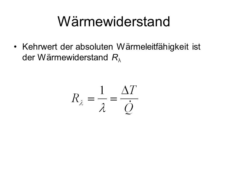Wärmewiderstand Kehrwert der absoluten Wärmeleitfähigkeit ist der Wärmewiderstand R λ
