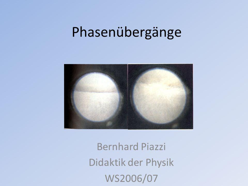 Übersicht Mögliche Phasenübergänge Phasendiagramm Kritischer Punkt Tripelpunkt Latente Wärme Verdampfungswärme Wasser