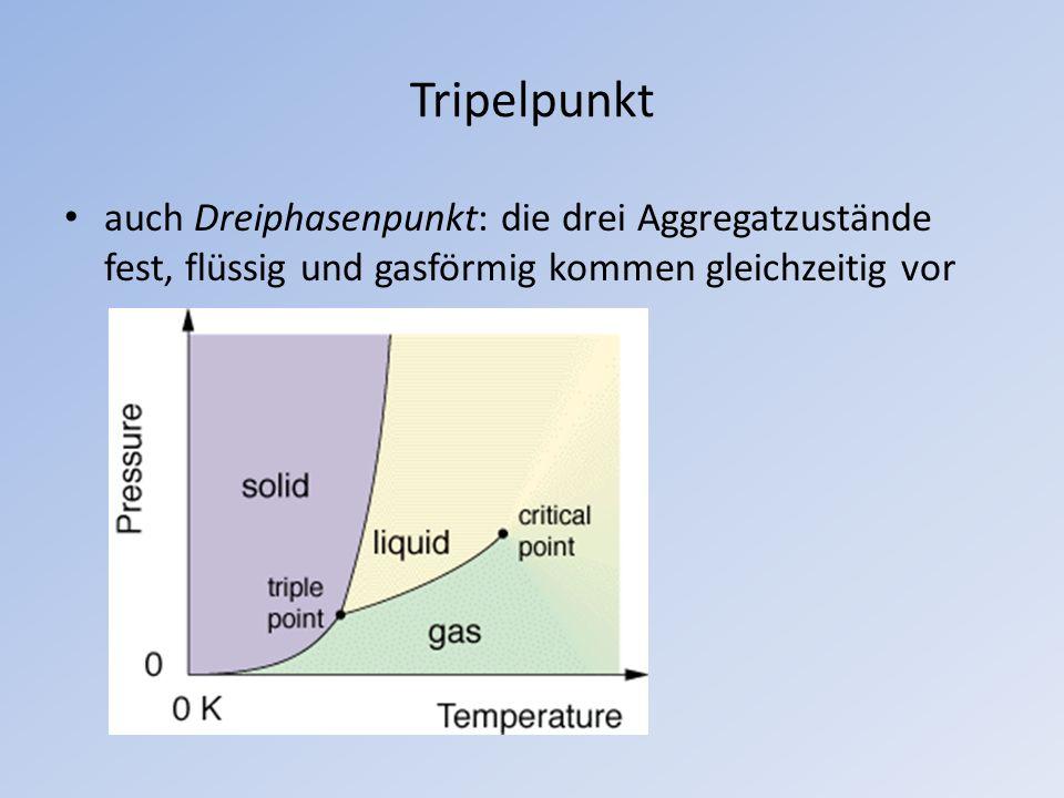 Tripelpunkt auch Dreiphasenpunkt: die drei Aggregatzustände fest, flüssig und gasförmig kommen gleichzeitig vor