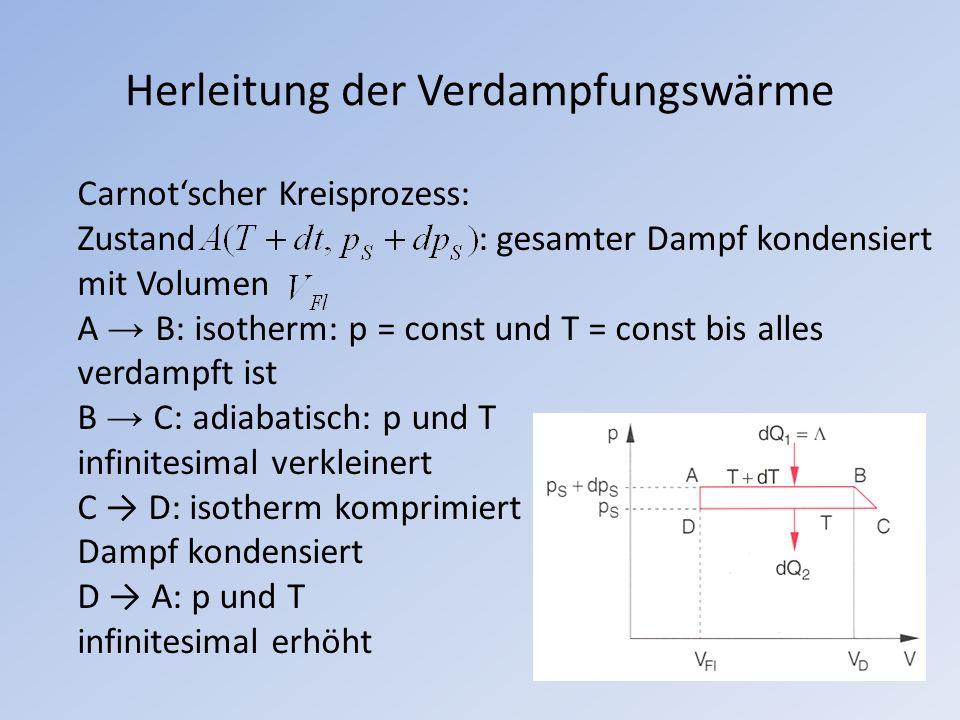 Herleitung der Verdampfungswärme Carnotscher Kreisprozess: Zustand : gesamter Dampf kondensiert mit Volumen A B: isotherm: p = const und T = const bis