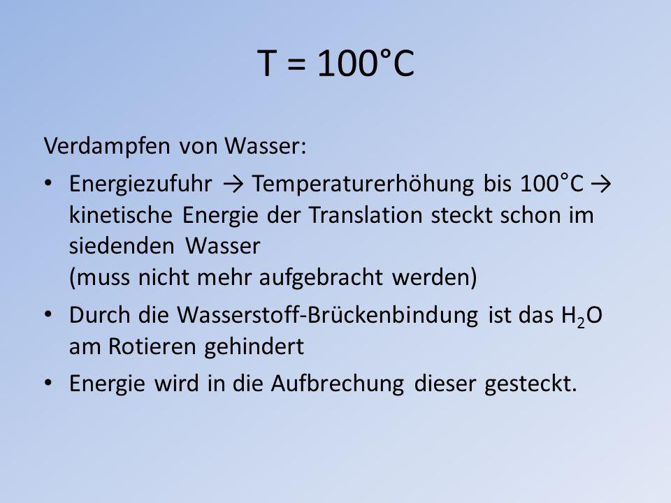 T = 100°C Verdampfen von Wasser: Energiezufuhr Temperaturerhöhung bis 100°C kinetische Energie der Translation steckt schon im siedenden Wasser (muss