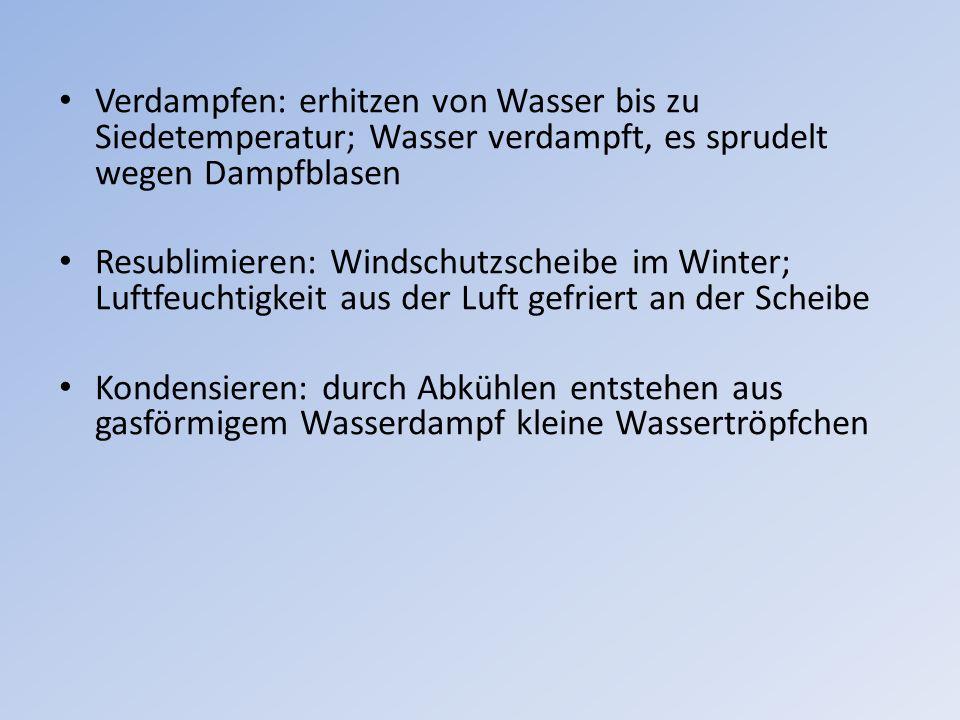 Verdampfen: erhitzen von Wasser bis zu Siedetemperatur; Wasser verdampft, es sprudelt wegen Dampfblasen Resublimieren: Windschutzscheibe im Winter; Lu