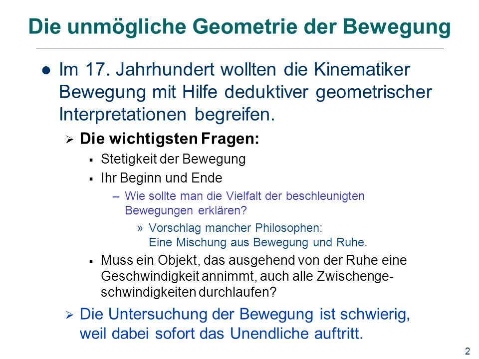 2 Die unmögliche Geometrie der Bewegung Im 17.