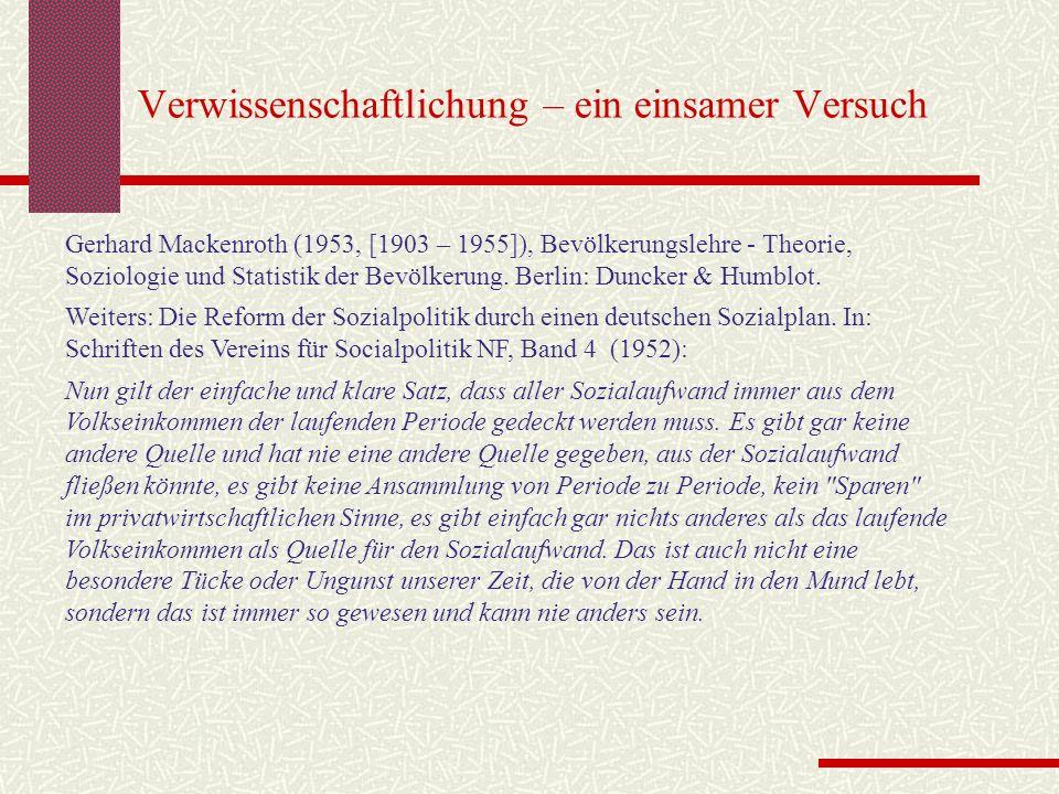 Verwissenschaftlichung – ein einsamer Versuch Gerhard Mackenroth (1953, [1903 – 1955]), Bevölkerungslehre - Theorie, Soziologie und Statistik der Bevö