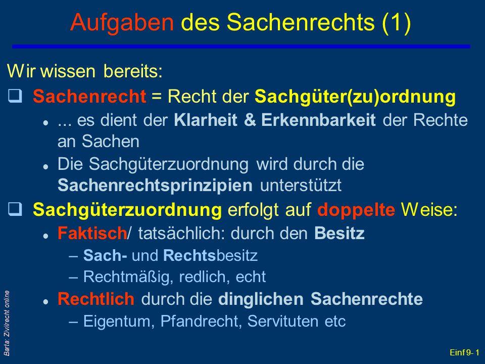 Einf 9- 1 Barta: Zivilrecht online Aufgaben des Sachenrechts (1) Wir wissen bereits: qSachenrecht = Recht der Sachgüter(zu)ordnung l...