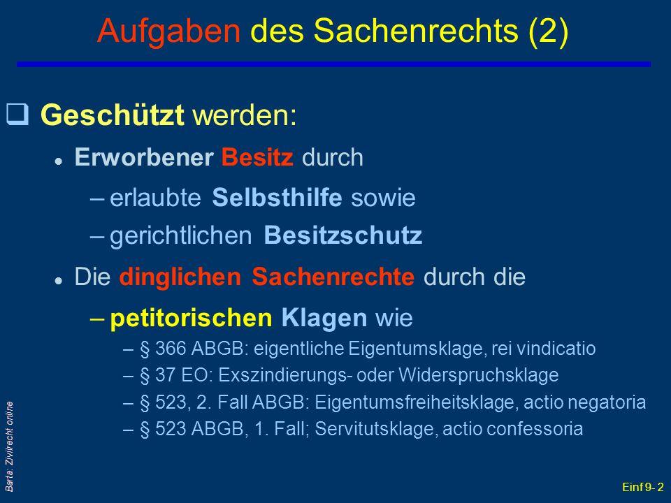 Einf 9- 3 Barta: Zivilrecht online SachR: Recht der Sachgüterzuordnung qSachenR = Recht der konkreten Sach(güter)- zuordnung an Rechtssubjekte l Es dient der Klarheit & Erkennbarkeit, wem, welches SachenR, in welchem Umfang zusteht.