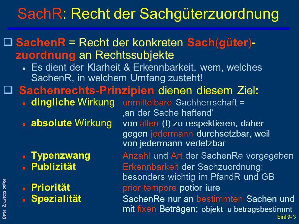 Einf 9- 3 Barta: Zivilrecht online SachR: Recht der Sachgüterzuordnung qSachenR = Recht der konkreten Sach(güter)- zuordnung an Rechtssubjekte l Es di