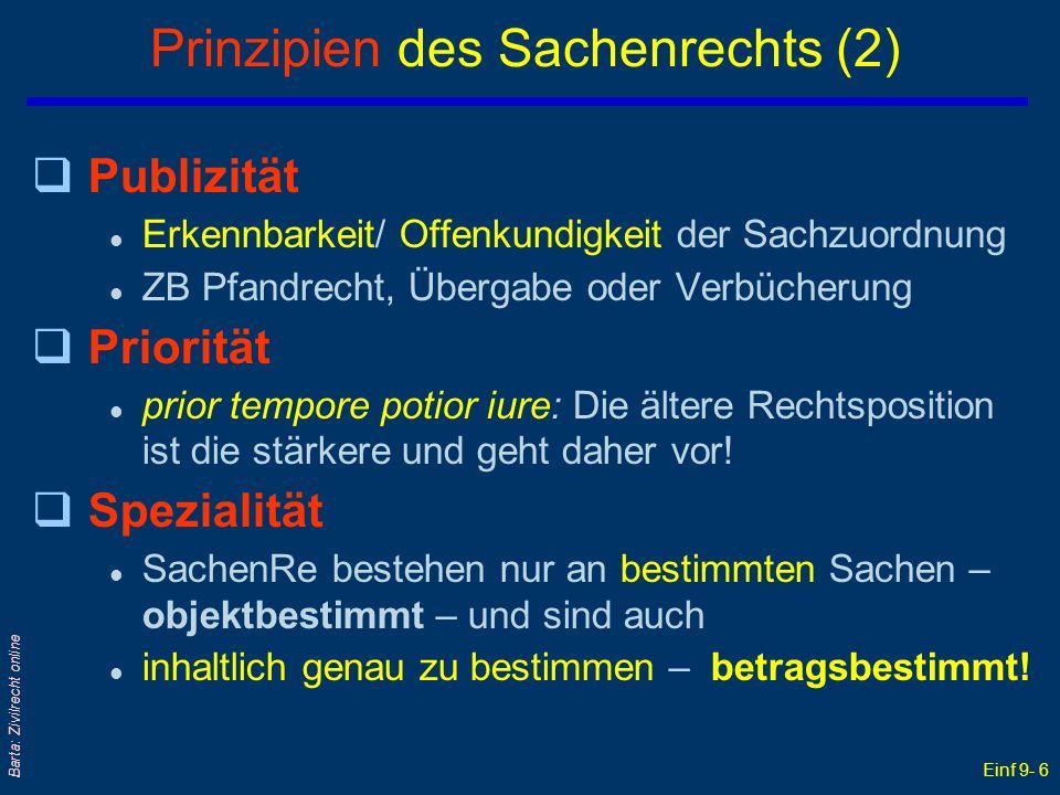 Einf 9- 6 Barta: Zivilrecht online Prinzipien des Sachenrechts (2) qPublizität l Erkennbarkeit/ Offenkundigkeit der Sachzuordnung l ZB Pfandrecht, Übe