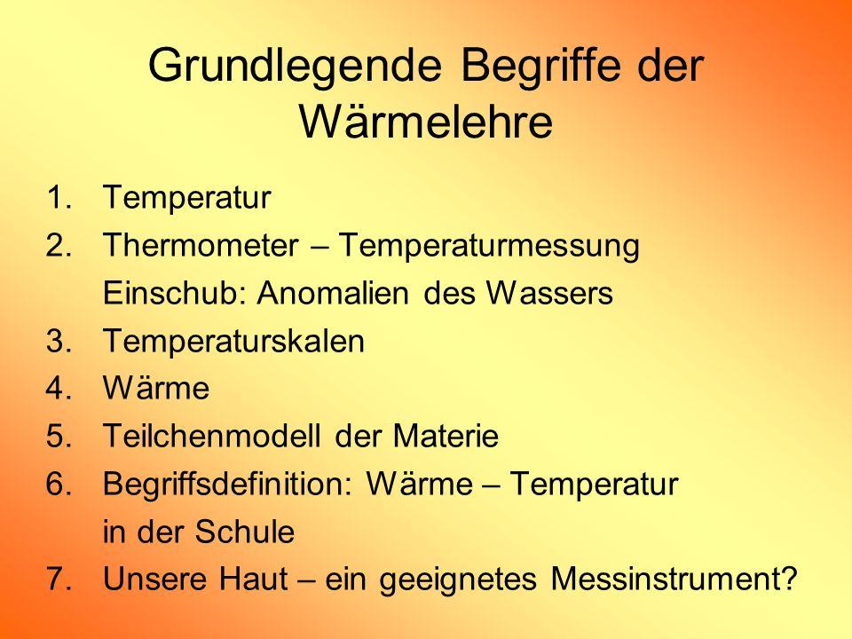 Grundlegende Begriffe der Wärmelehre 1.Temperatur 2.Thermometer – Temperaturmessung Einschub: Anomalien des Wassers 3.Temperaturskalen 4.Wärme 5.Teilc